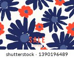 blue and bright red bold floral ... | Shutterstock .eps vector #1390196489