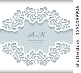 cutout paper frame with lace... | Shutterstock .eps vector #1390199906