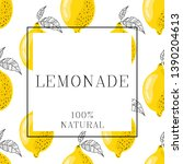 stylized yellow lemons with... | Shutterstock .eps vector #1390204613