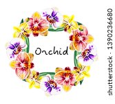 beautiful frame from orchid... | Shutterstock . vector #1390236680
