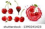 set of ripe sweet cherries with ... | Shutterstock .eps vector #1390241423