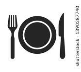 restaurant icon. fork  plate... | Shutterstock .eps vector #1390287740