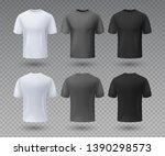 realistic male t shirt. white... | Shutterstock .eps vector #1390298573