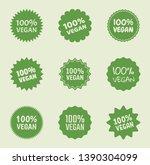 vegan logo icon set  organic... | Shutterstock .eps vector #1390304099