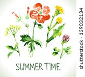 watercolor floral greeting card.... | Shutterstock .eps vector #139032134
