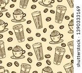 seamless pattern of coffee... | Shutterstock .eps vector #1390333169