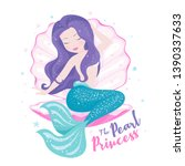 beautiful mermaid with shell... | Shutterstock .eps vector #1390337633