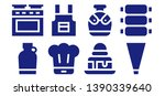 cooking icon set. 8 filled cooking icons.  Simple modern icons about  - Canteen, Oven, Chef, Apron, Brownie, Piping bag, Ribs