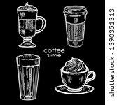 vector hand drawn set of coffee.... | Shutterstock .eps vector #1390351313