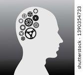 human brain with wheel... | Shutterstock .eps vector #1390354733