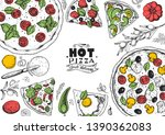 italian pizza and ingredients... | Shutterstock .eps vector #1390362083