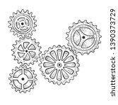 gear mechanism sketch engraving ... | Shutterstock .eps vector #1390373729