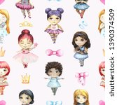 seamless pattern with cute... | Shutterstock . vector #1390374509