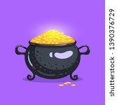 full pot of money. cute bright...   Shutterstock .eps vector #1390376729