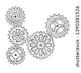 gear mechanism sketch engraving ... | Shutterstock . vector #1390381526