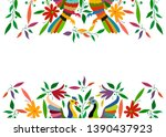 mexican traditional textile... | Shutterstock .eps vector #1390437923