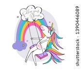 cartoon character unicorn on a... | Shutterstock .eps vector #1390446089