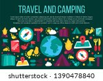 camping and travel flat banner... | Shutterstock .eps vector #1390478840