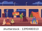 young homeless people spending... | Shutterstock .eps vector #1390480313
