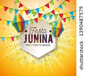 festa junina illustration with... | Shutterstock .eps vector #1390487579