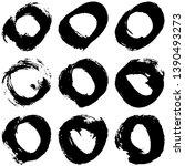 set of vector black rings on a... | Shutterstock .eps vector #1390493273