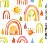 watercolor pattern with rainbow ... | Shutterstock . vector #1390508453