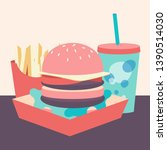 large hamburger with soda and...   Shutterstock .eps vector #1390514030