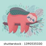 cute hand drawn sloth sleeping... | Shutterstock .eps vector #1390535330