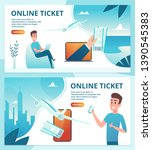 air ticket online. order avia... | Shutterstock .eps vector #1390545383