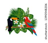 tropical and exotic parrot and...   Shutterstock .eps vector #1390548206