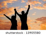 happy couple in the sunset | Shutterstock . vector #13905580