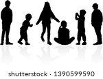 vector silhouette of children...   Shutterstock .eps vector #1390599590