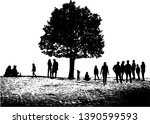 group of people in nature . | Shutterstock .eps vector #1390599593