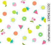 cute hand drawn tropical fruits ... | Shutterstock .eps vector #1390611230