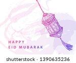 eid mubarak background with...   Shutterstock .eps vector #1390635236
