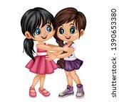 two lovely happy best friends... | Shutterstock .eps vector #1390653380