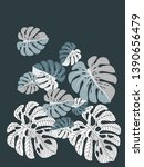 vector tropical pattern with... | Shutterstock .eps vector #1390656479