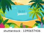 vector illustration   beach...   Shutterstock .eps vector #1390657436