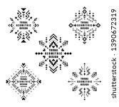 aztec vector elements. set of... | Shutterstock .eps vector #1390672319
