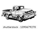 Vintage American Truck. Ink...