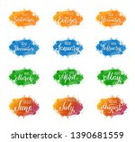 set of handwritten names of... | Shutterstock .eps vector #1390681559