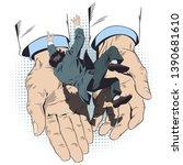 concept of insurance. man falls ...   Shutterstock .eps vector #1390681610