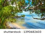 Stock photo landscape view of herrings cove beach herring bay titirangi auckland new zealand 1390682603