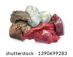 raw beef meat and cow internal...   Shutterstock . vector #1390699283