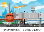 plane before takeoff. airport... | Shutterstock . vector #1390701290
