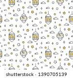 islamic cartoon doodle... | Shutterstock .eps vector #1390705139