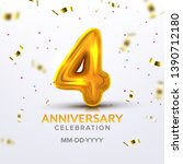 fourth anniversary birth... | Shutterstock .eps vector #1390712180