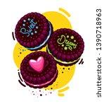 vector brown cookies...   Shutterstock .eps vector #1390718963