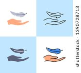 hand and feather icon set in... | Shutterstock .eps vector #1390728713