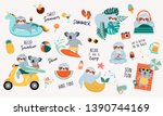 summer illustration with cute... | Shutterstock .eps vector #1390744169